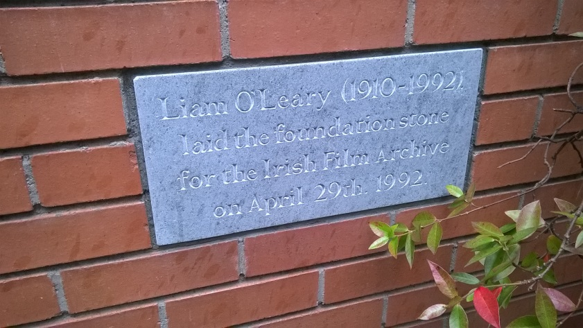 Plaque outside the Irish Film Archive