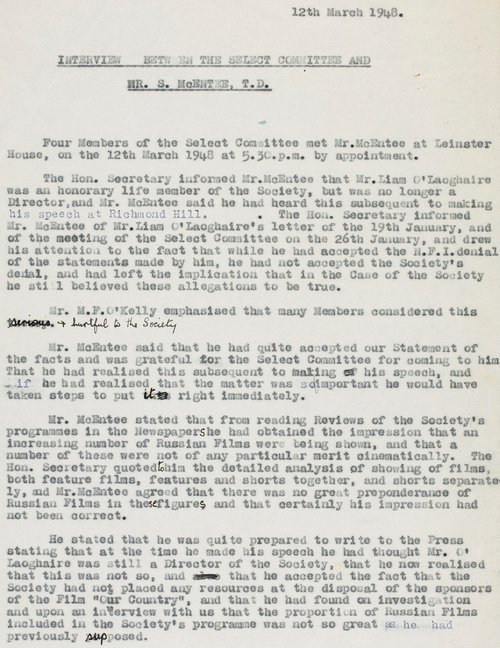 MS 50,000/76/6: Interview notes between the Irish Film Society select committee and Seán McEntee T.D.